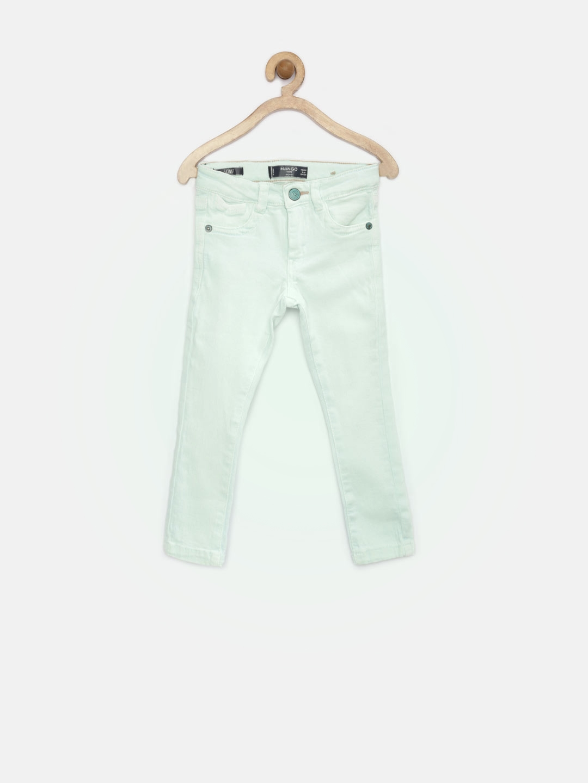4b8cc39d Buy MANGO Kids Girls Mint Green Washed Skinny Stretchable Jeans ...