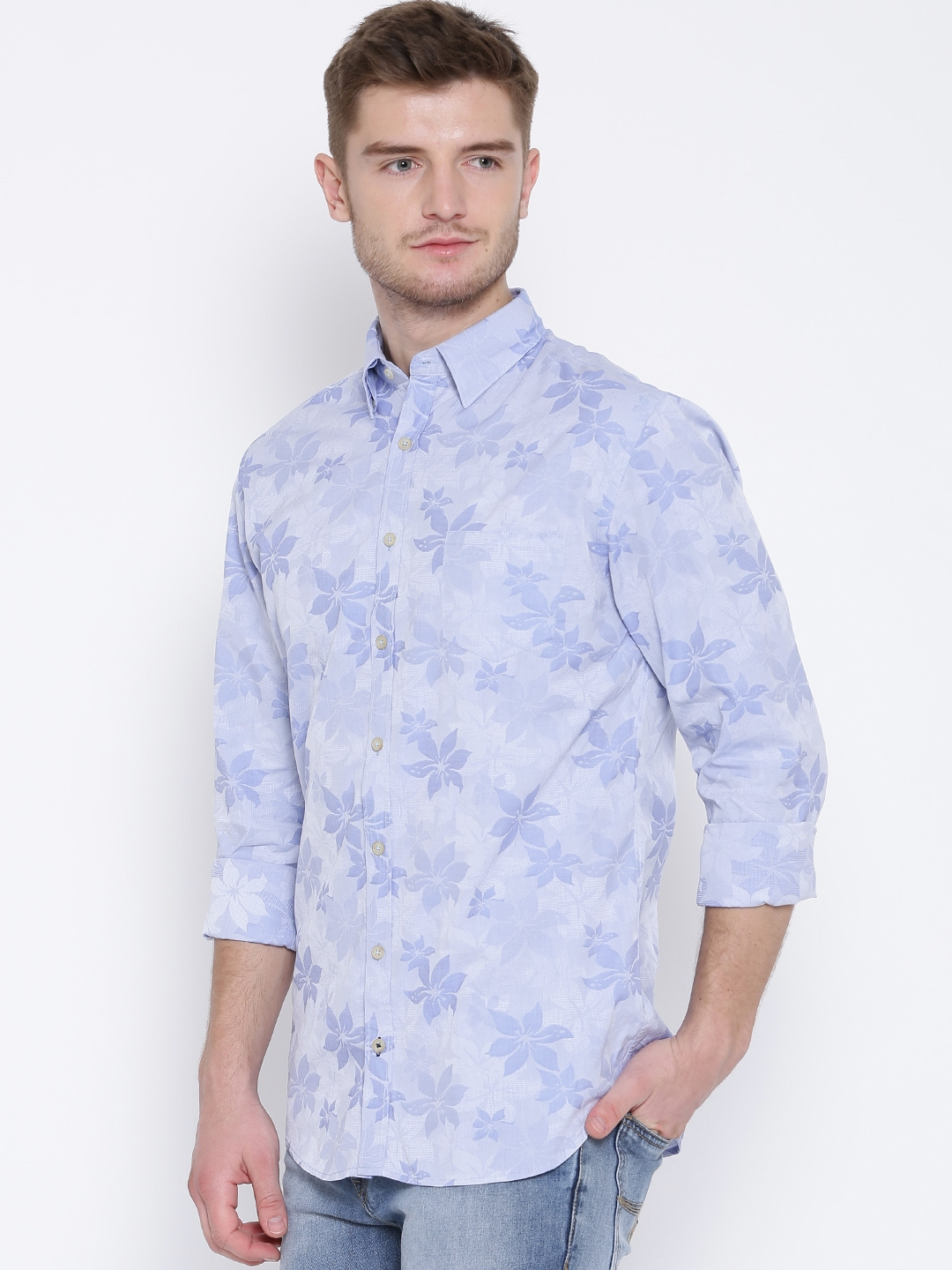 52e6b7ee6f Buy H.E. By MANGO Blue Floral Weave Slim Casual Shirt - Shirts for ...