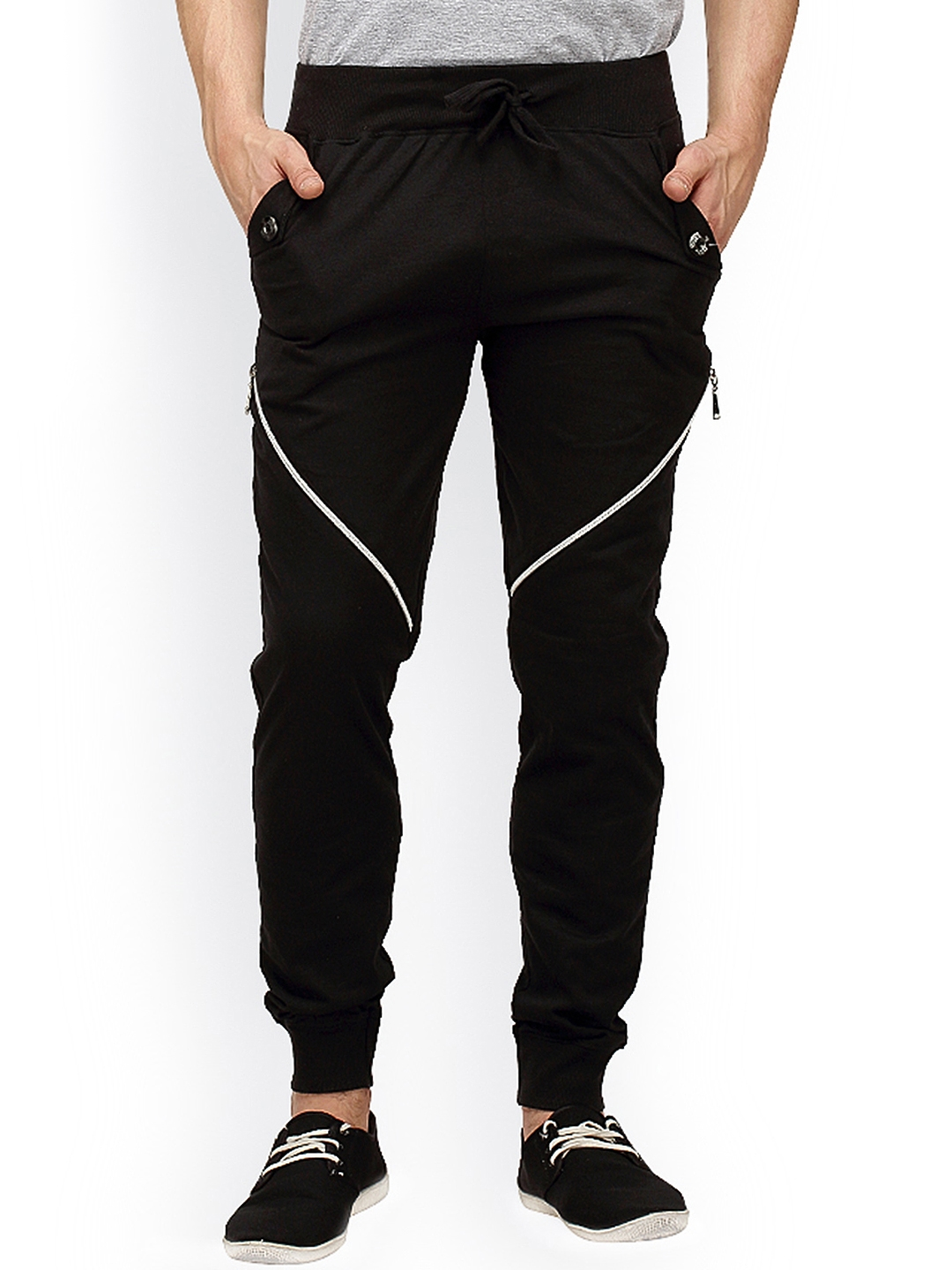 Campus Sutra Black Track Pants