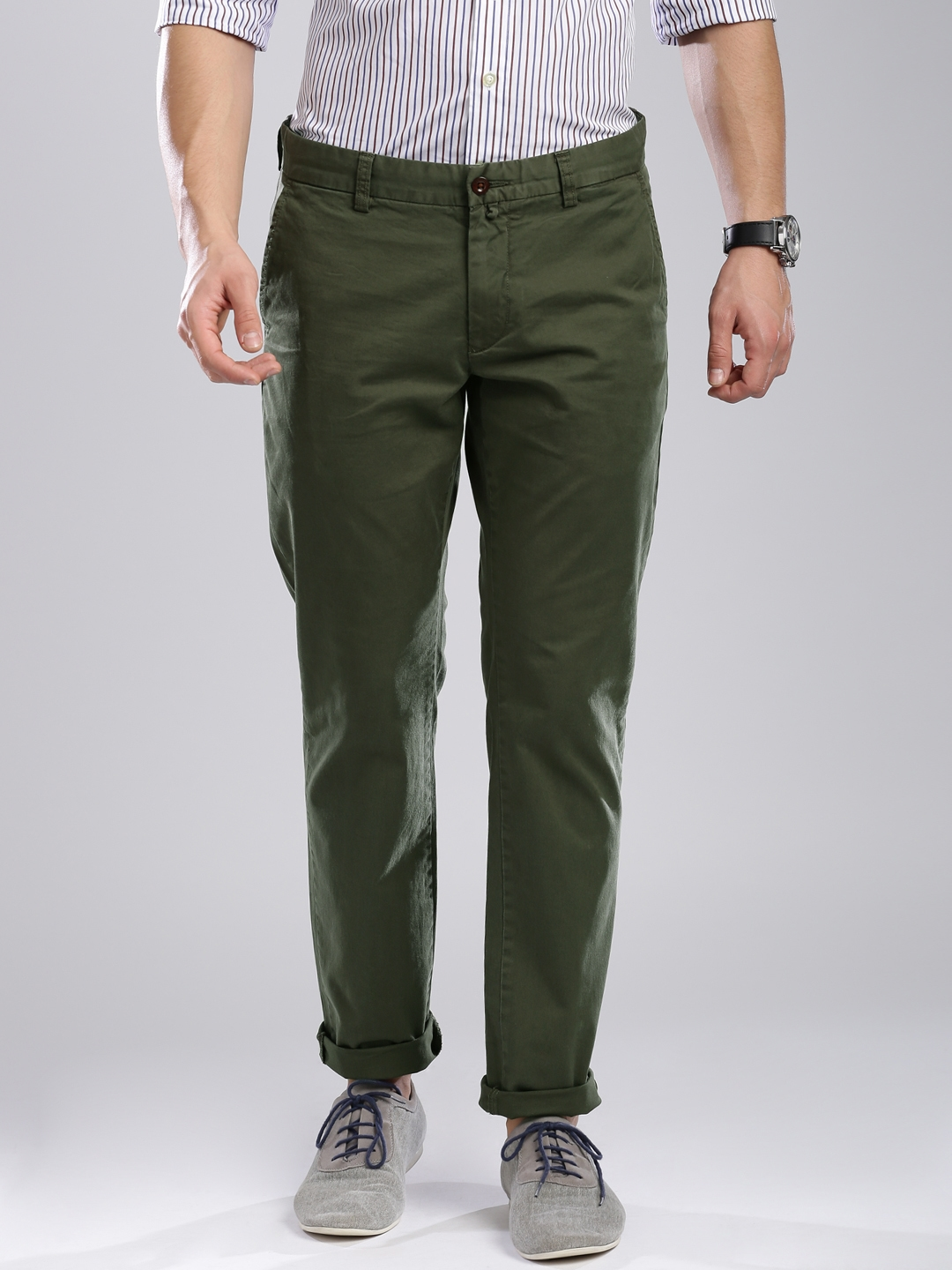 a4d65fcd63b6 Buy GANT Olive Green Soho Fit Chino Trousers - Trousers for Men ...