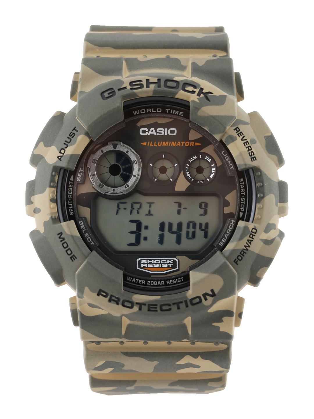 CASIO G-Shock Men Brown   Olive Green Camouflage Print Digital Watch GD- 120CM-5DR G513 a5c0d4aa03