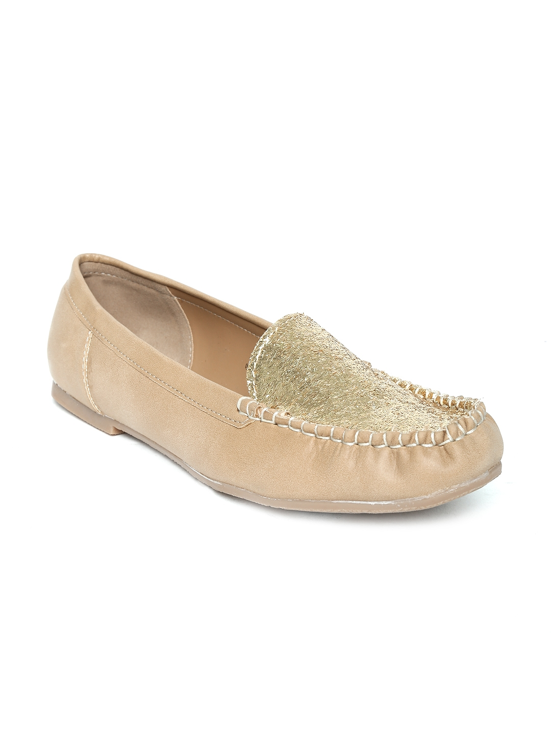 a876464a3031 Buy Footin By Bata Women Gold Toned   Beige Shimmer Flat Shoes ...