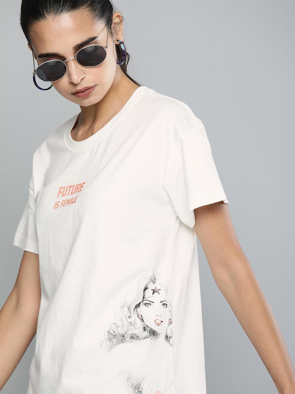 Wonder Woman White Printed Round Neck T shirt