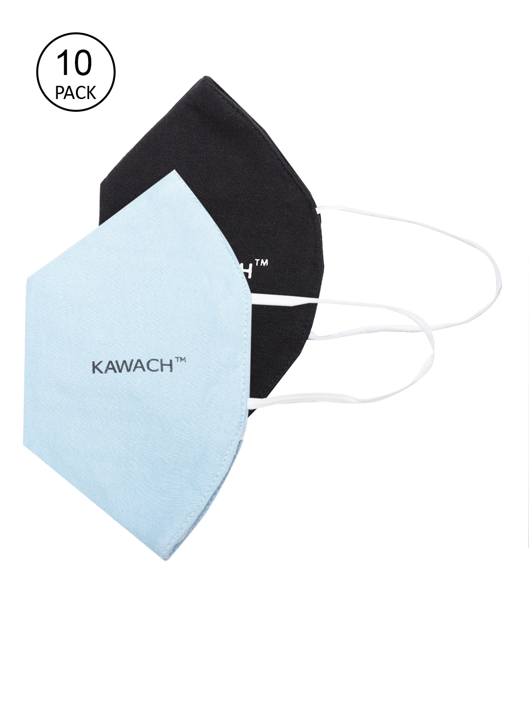 Kawach Unisex Pack of 10 Solid Reusable Protective Anti Allergic 3 Ply Cloth Face Mask