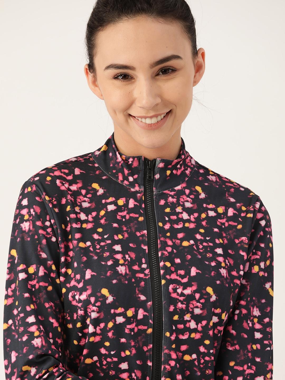 DressBerry Women Black   Pink Printed Sporty Jacket