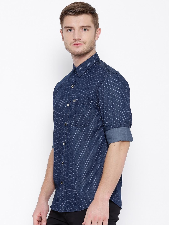 4dc20aa643a Buy John Players Navy Printed Trim Fit Denim Shirt - Shirts for Men ...