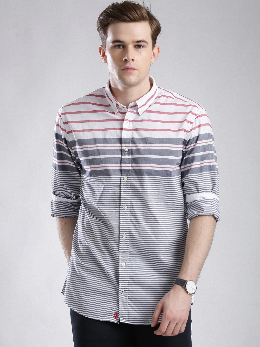 d24c73fe16 Buy Tommy Hilfiger Navy & White Striped New York Fit Casual Shirt ...