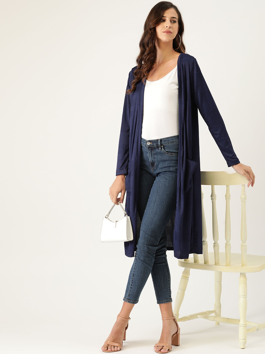 all about you Women Navy Blue Striped Longline Open Front Shrug