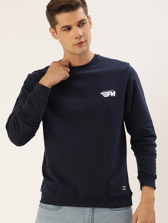 Flying Machine Men Navy Blue Solid Sweatshirt