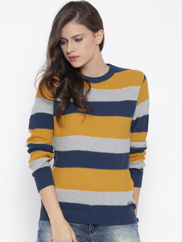 99ba3bfd701 Buy Roadster Women Navy   Mustard Yellow Striped Sweater - Sweaters for  Women 1321267