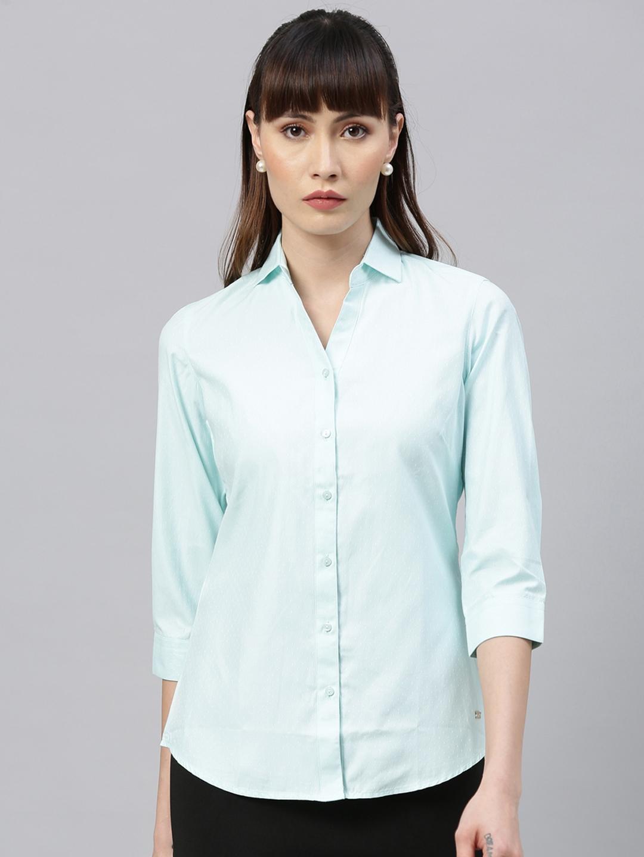 Park Avenue Woman Women Blue Regular Fit Solid Casual Shirt