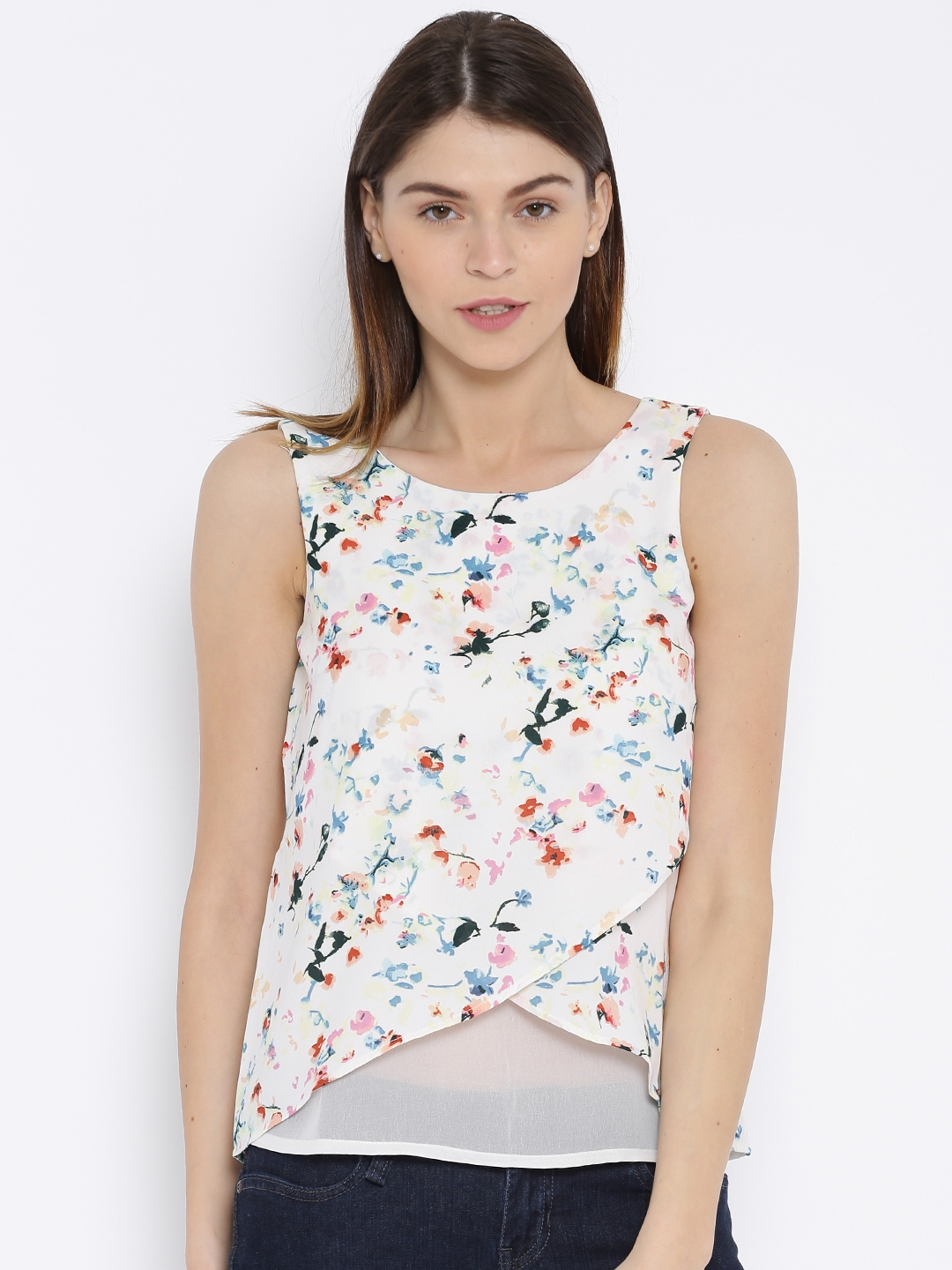 ONLY White Printed Sleeveless Top