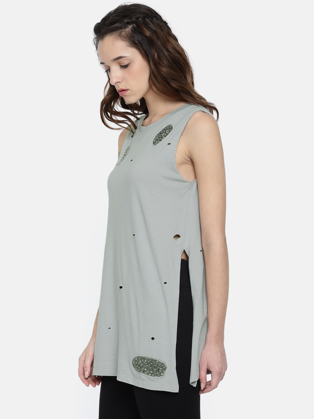 a5b8edfa3633d Buy ONLY Grey Embellished Longline Sleeveless Top - Tops for Women ...