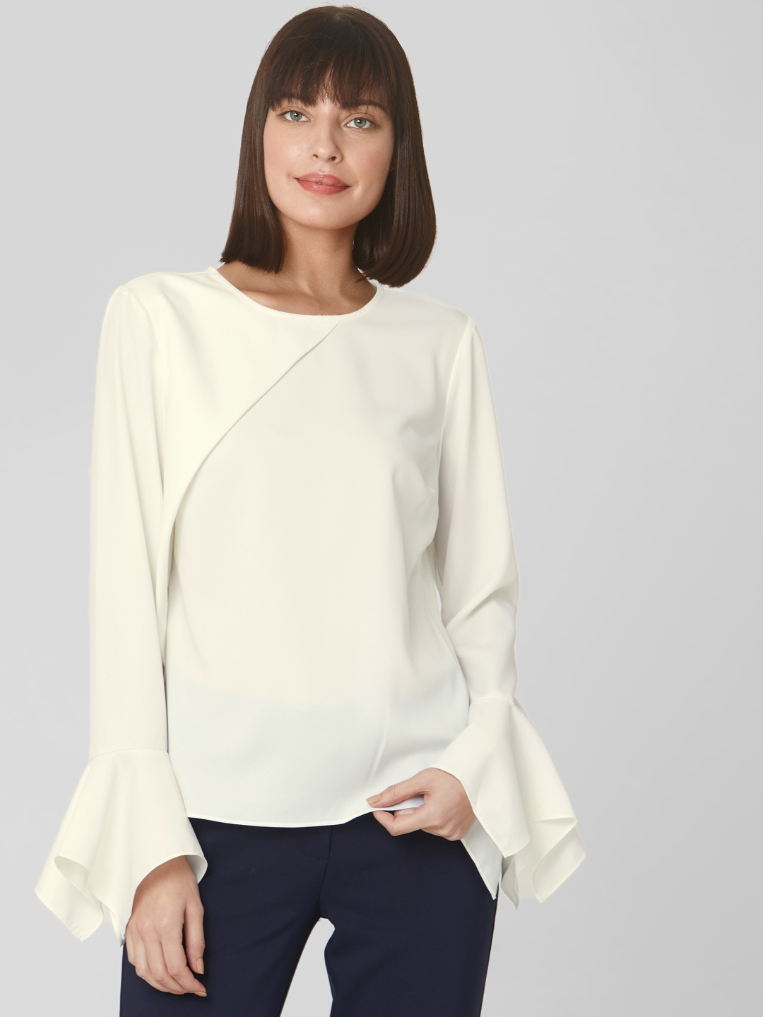 Vero Moda Women White Solid Top With Bell Sleeves