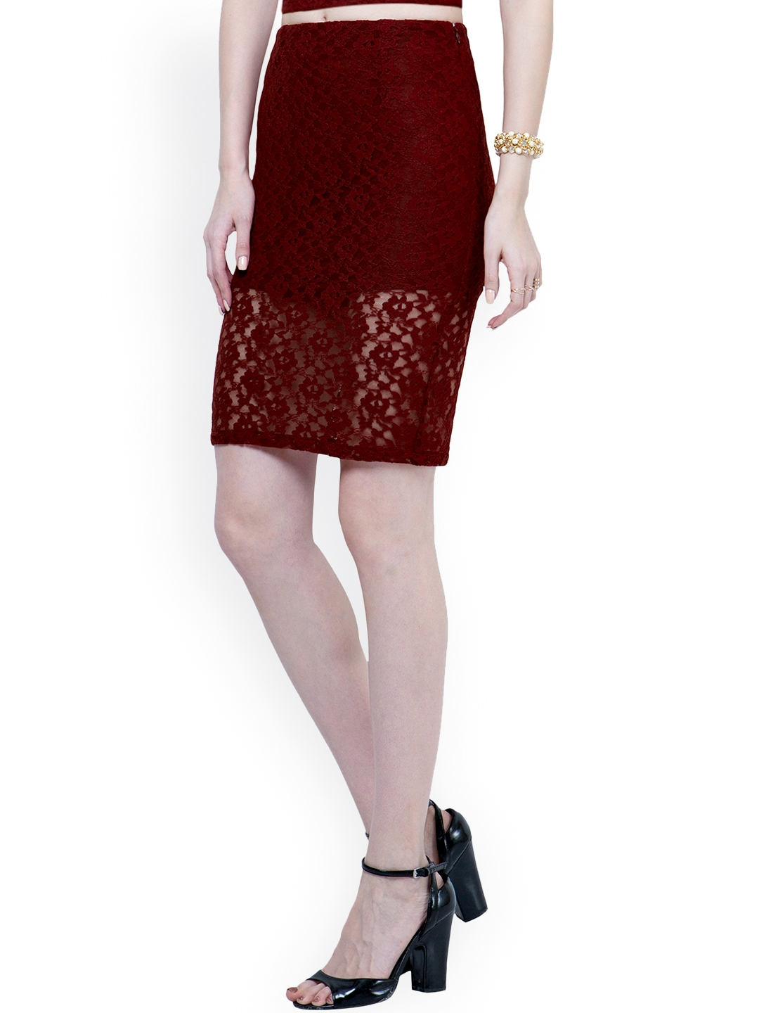 9ff226c950 Buy FabAlley Maroon Lace Pencil Skirt - Skirts for Women 1325992 ...