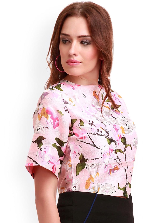 0b0b8de055f Buy SASSAFRAS Pink Floral Print Silk Crop Top - Tops for Women ...