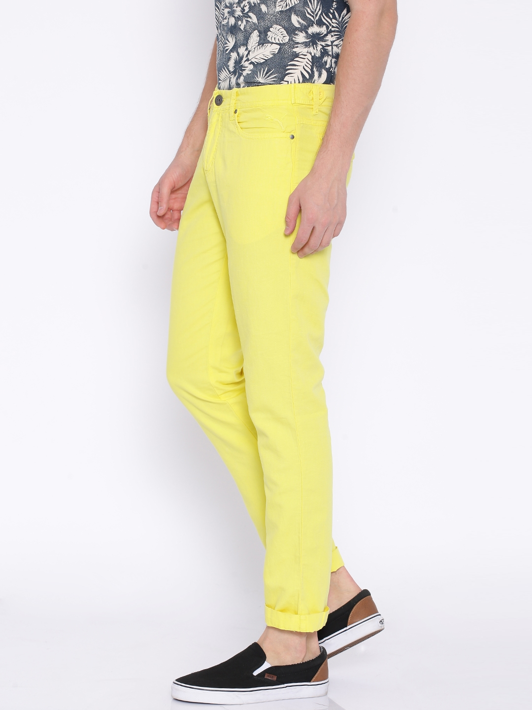 8bfcf31c3701 Buy PUMA Yellow Garment Dyed Casual Trousers - Trousers for Men ...