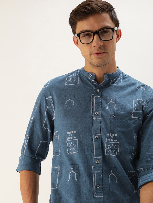 Mr Bowerbird Men Made In India Natural Dyed Hand Block Printed Mihrab Shirt