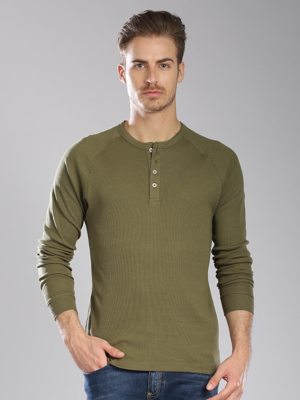 25025f1e Buy Levi's Olive Green Henley T Shirt - Tshirts for Men 1333143 | Myntra