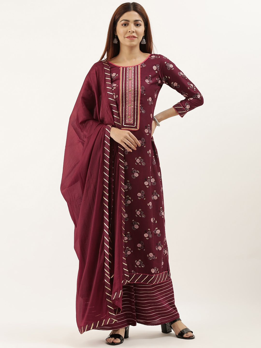Kvsfab Maroon   Pink Printed Unstitched Dress Material With Embroidered Detailing