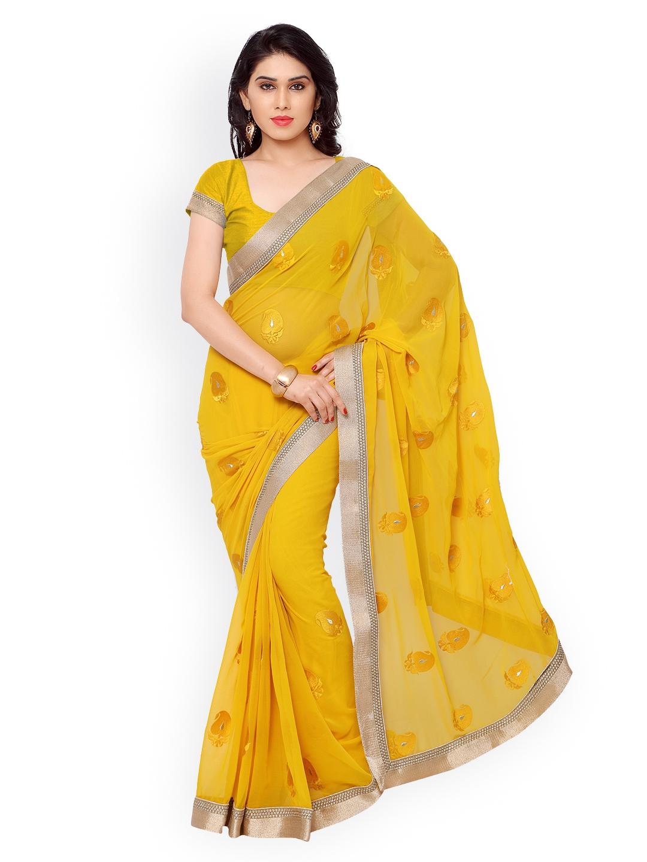 542400253 Buy Subhash Sarees Yellow Embroidered Chiffon Saree - Sarees for Women  1334071 | Myntra