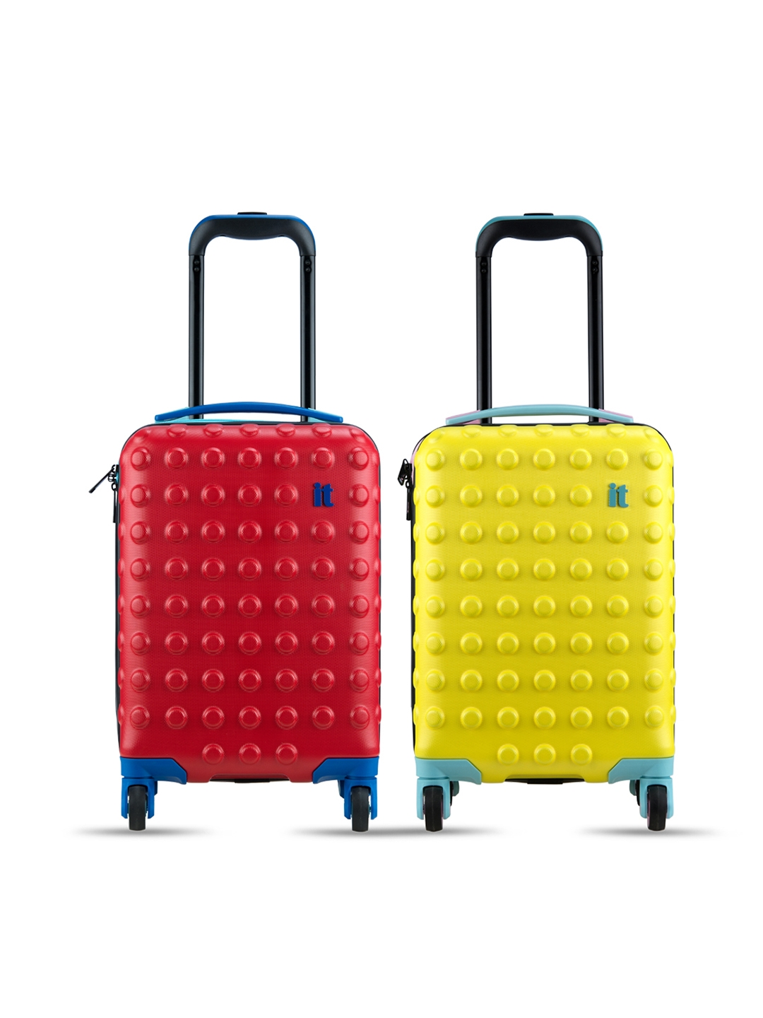 IT luggage Unisex Kids Set of 2 Red   Yellow Textured Hard Side Cabin Trolley Bags
