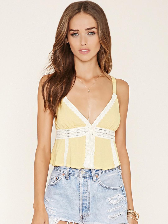 1c0a50540b7ef Buy FOREVER 21 Yellow Crochet Crop Top - Tops for Women 1337080