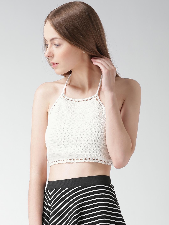 10e0f15db045e7 Buy FOREVER 21 Off White Crochet Halter Neck Crop Top - Tops for ...
