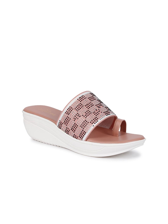ZAPATOZ Women Pink   White Woven Design Wedge Heels