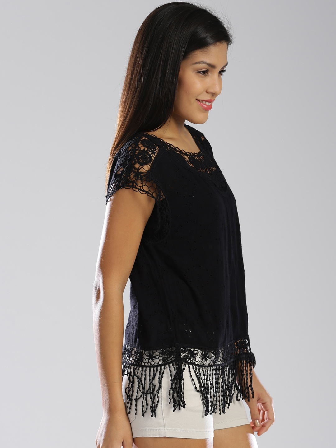 Buy Superdry Black Schiffli Crochet Fringe Top Tops For Women