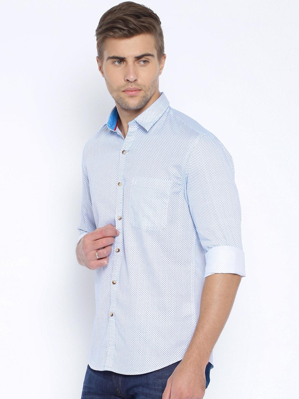 9d6745f977c Buy John Players White & Blue Printed Trim Fit Casual Shirt - Shirts ...