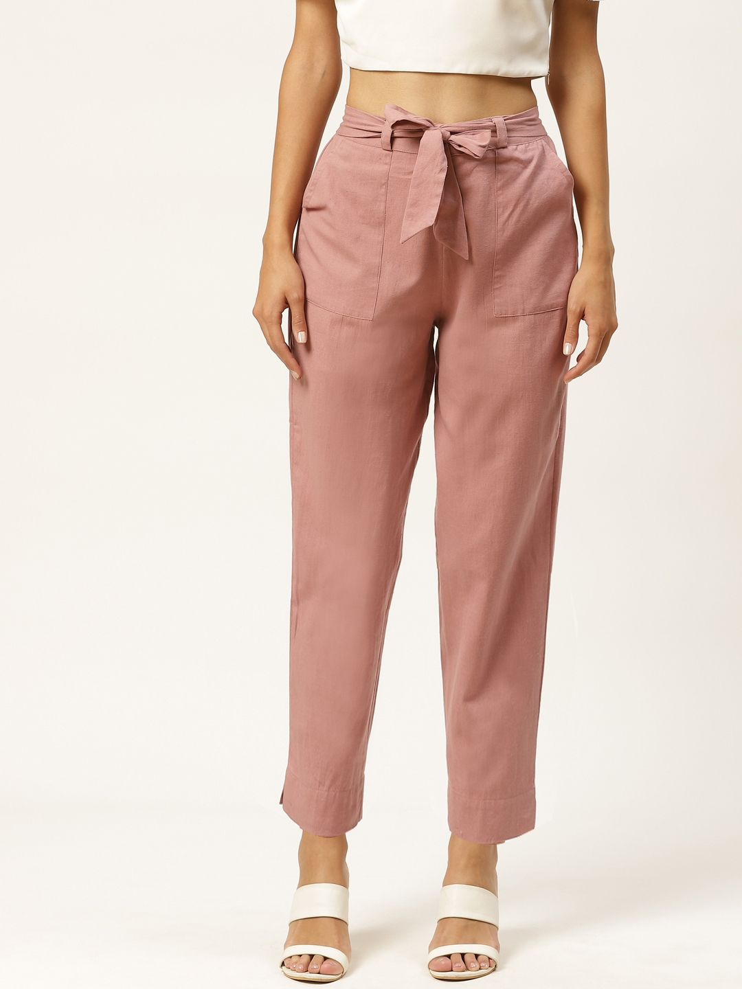 INIESTA Women Pink Relaxed Regular Fit Solid Trousers