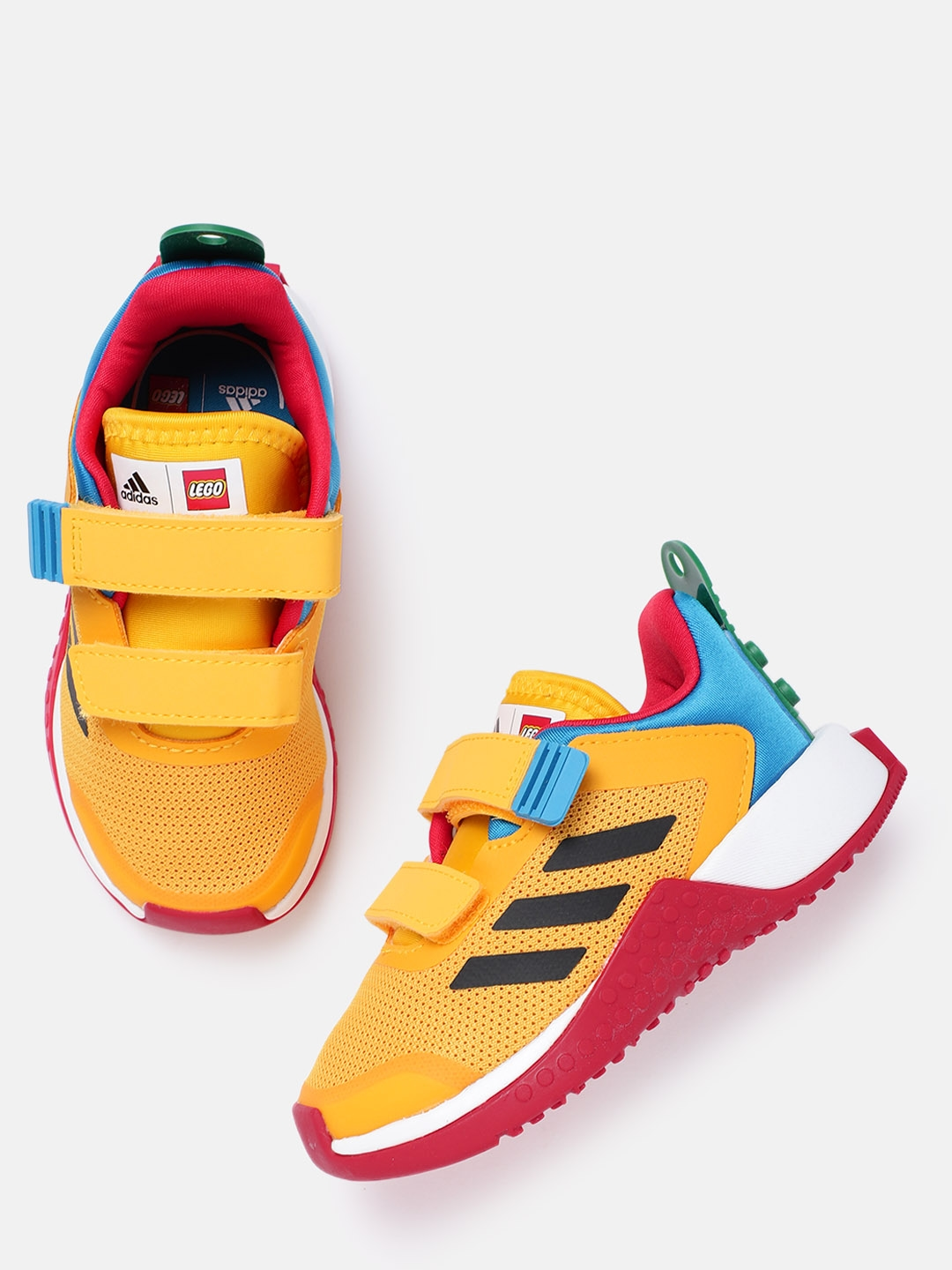 ADIDAS Kids Yellow   Blue Woven Design Lego EXPLORER CF Sustainable Running Shoes
