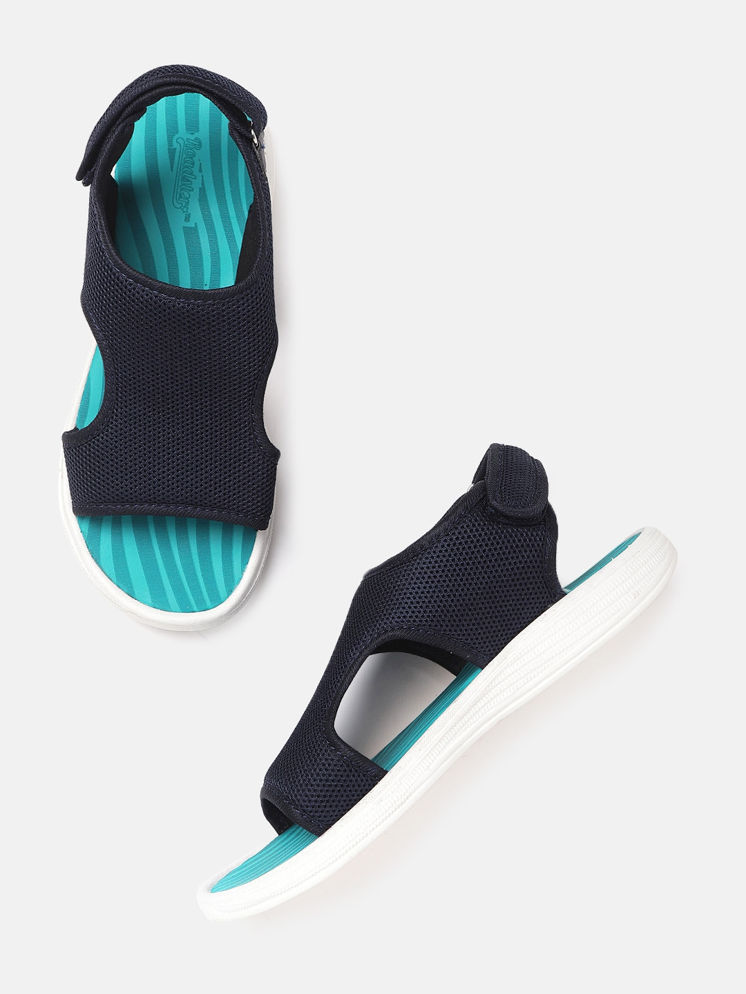 Roadster Women Navy Self Design Sports Sandals with Cut Outs