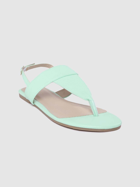 Van Heusen Woman Mint Green Solid T Strap Flats