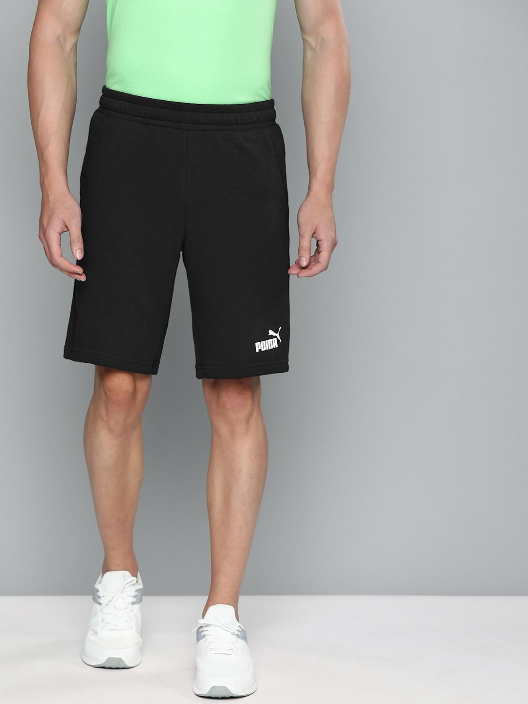 Puma Men Black Solid Regular Fit ESS 10  Sports Shorts