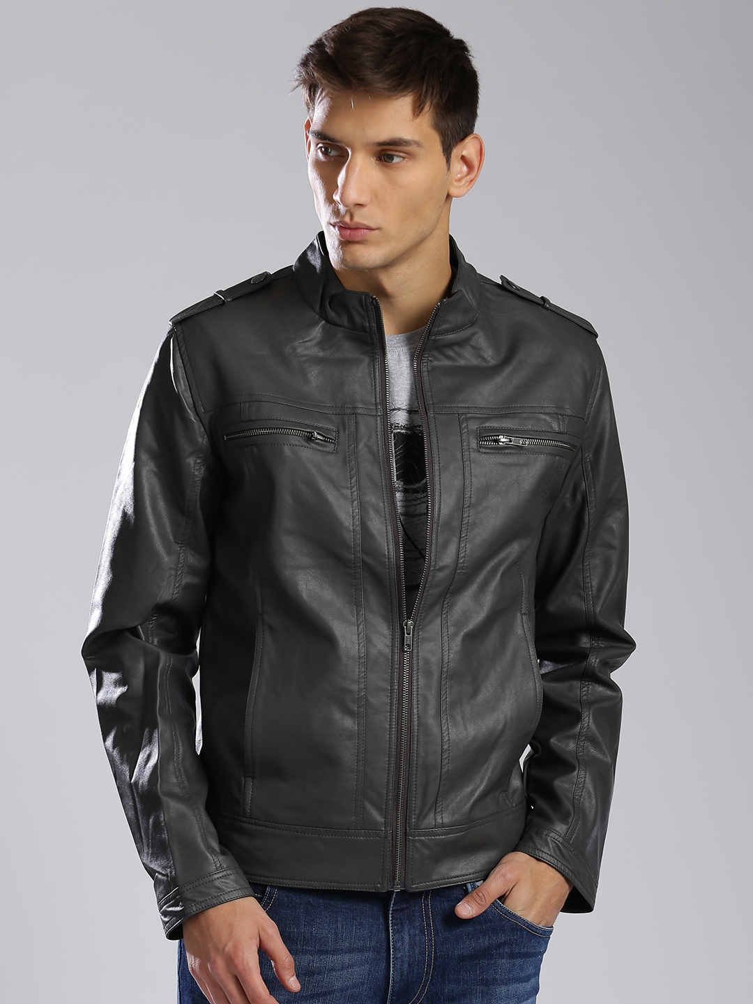 33848cfd99 Buy HRX By Hrithik Roshan Men Charcoal Grey Faux Leather Bomber ...