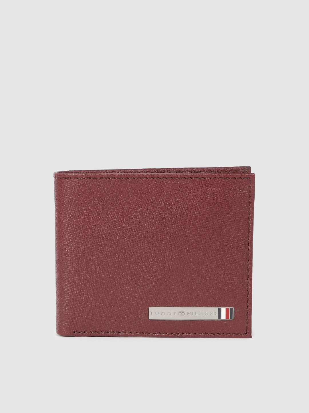 Tommy Hilfiger Men Maroon Solid Two Fold Leather Wallet