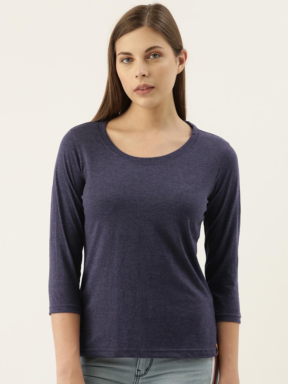 Campus Sutra Women Navy Blue Solid Round Neck T shirt