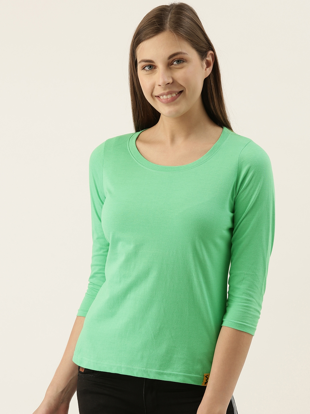 Campus Sutra Women Lime Green Solid Round Neck T shirt