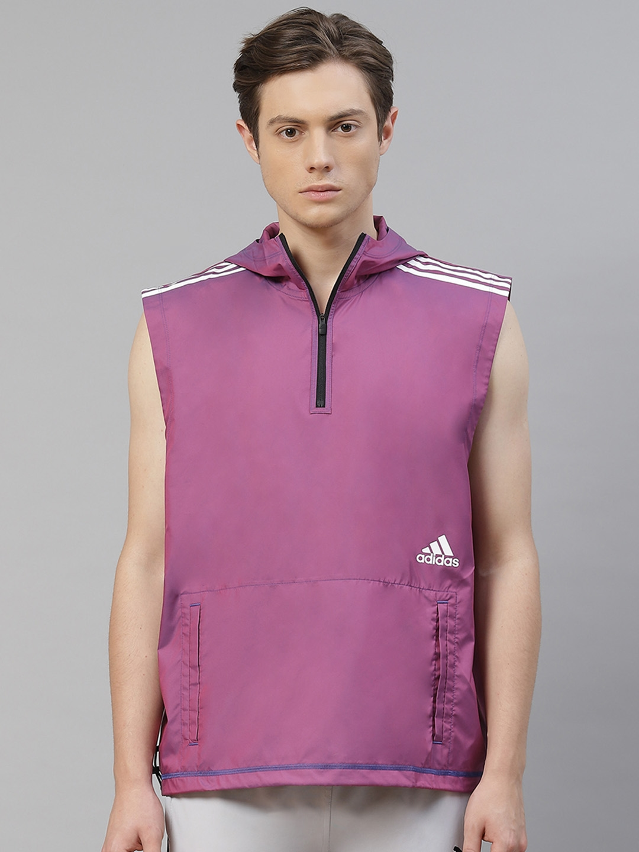 ADIDAS Men Magenta Solid Primeblue Hooded Sweatshirt