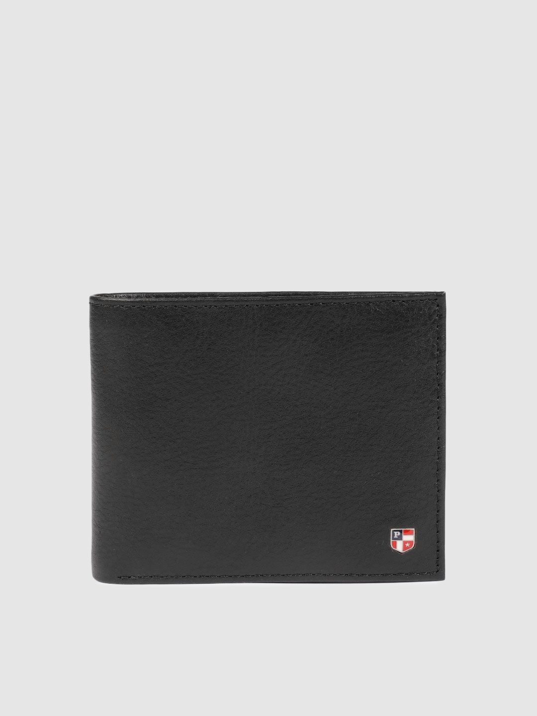 U.S. Polo Assn. Men Black Solid Two Fold Leather Wallet