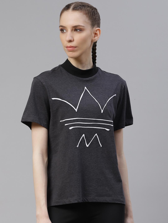 ADIDAS Originals Women Charcoal Grey Printed Round Neck Loose Pure Cotton T shirt