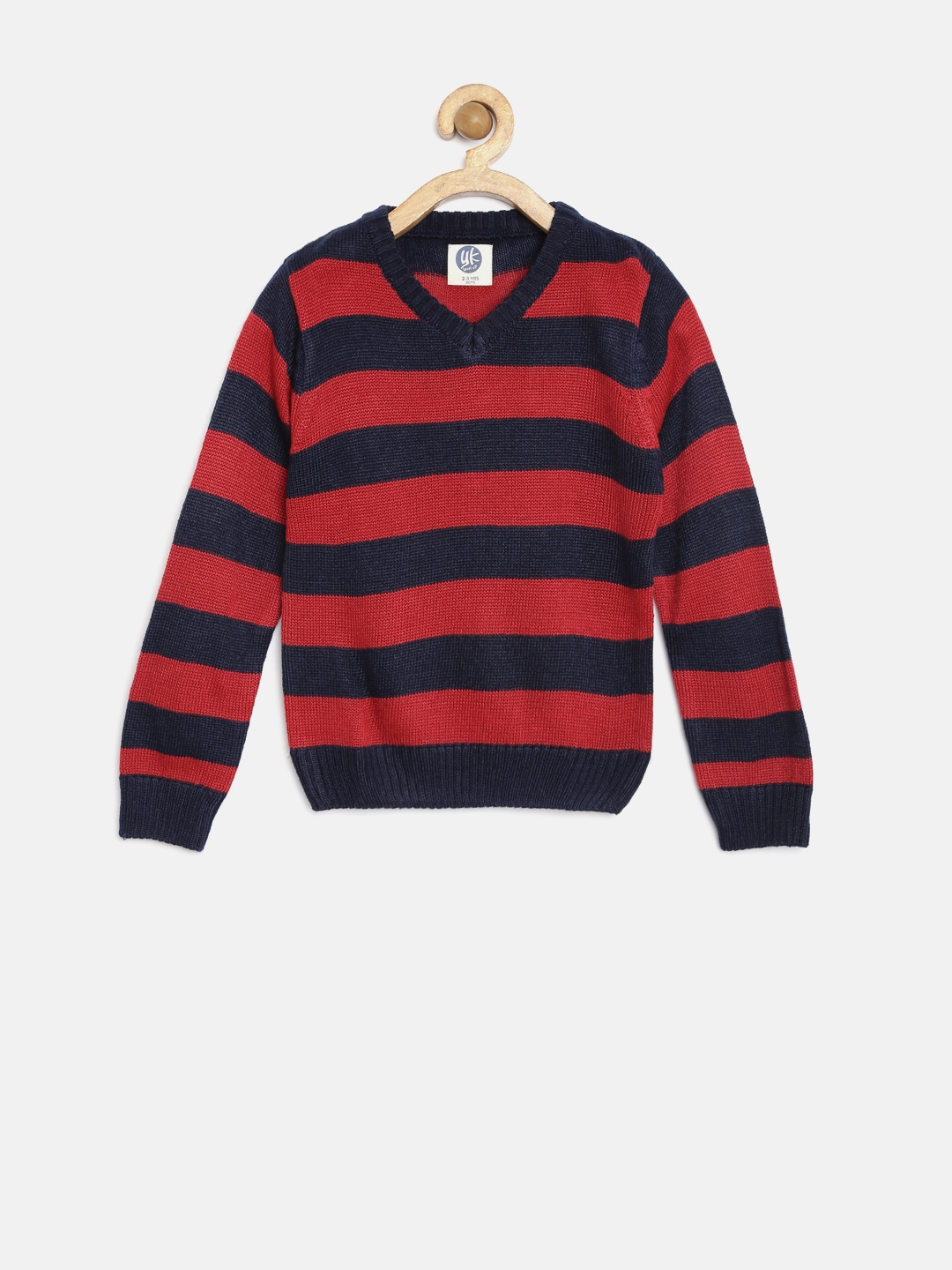 195405026 Buy YK Boys Red   Navy Striped Sweater - Sweaters for Boys 1355402 ...