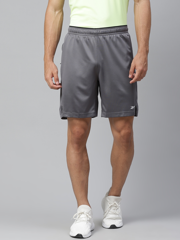 Reebok Men Grey Mid Rise Training or Gym Sports Shorts