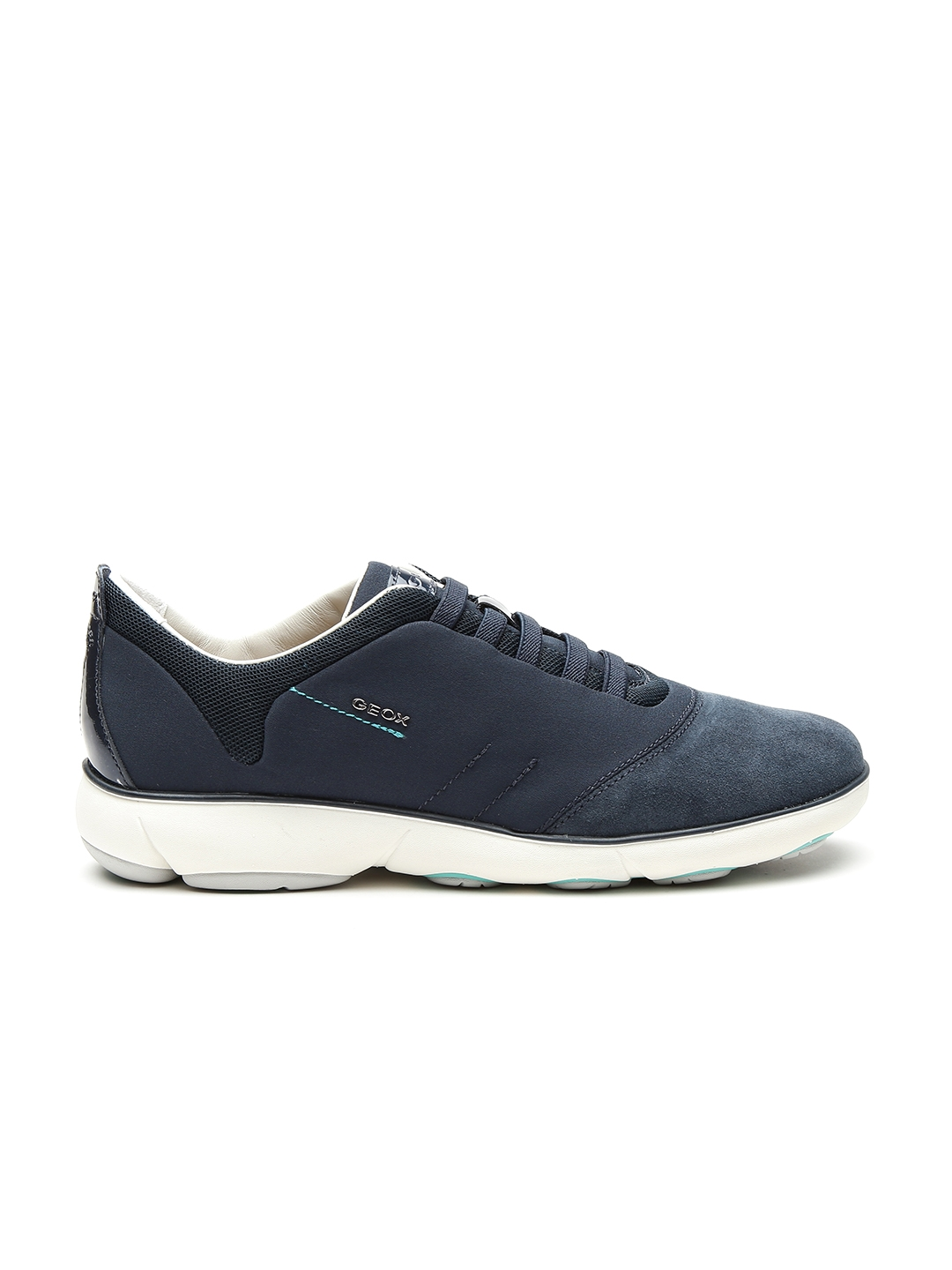 GEOX Nebula Respira Women Navy Breathable Italian Patent Leather Casual Shoes
