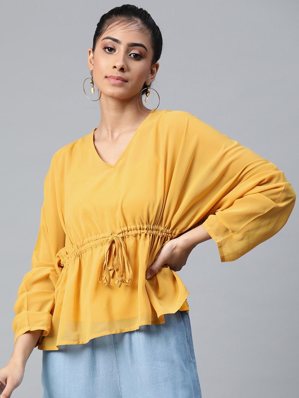 SASSAFRAS Women Yellow Solid Batwing Sleeves Empire Top