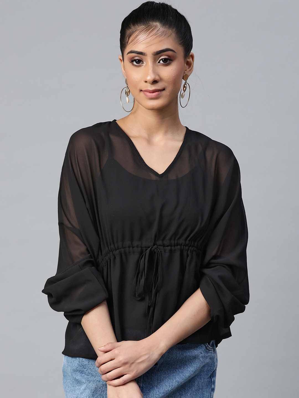 SASSAFRAS Women Black Solid Batwing Sleeves Empire Top