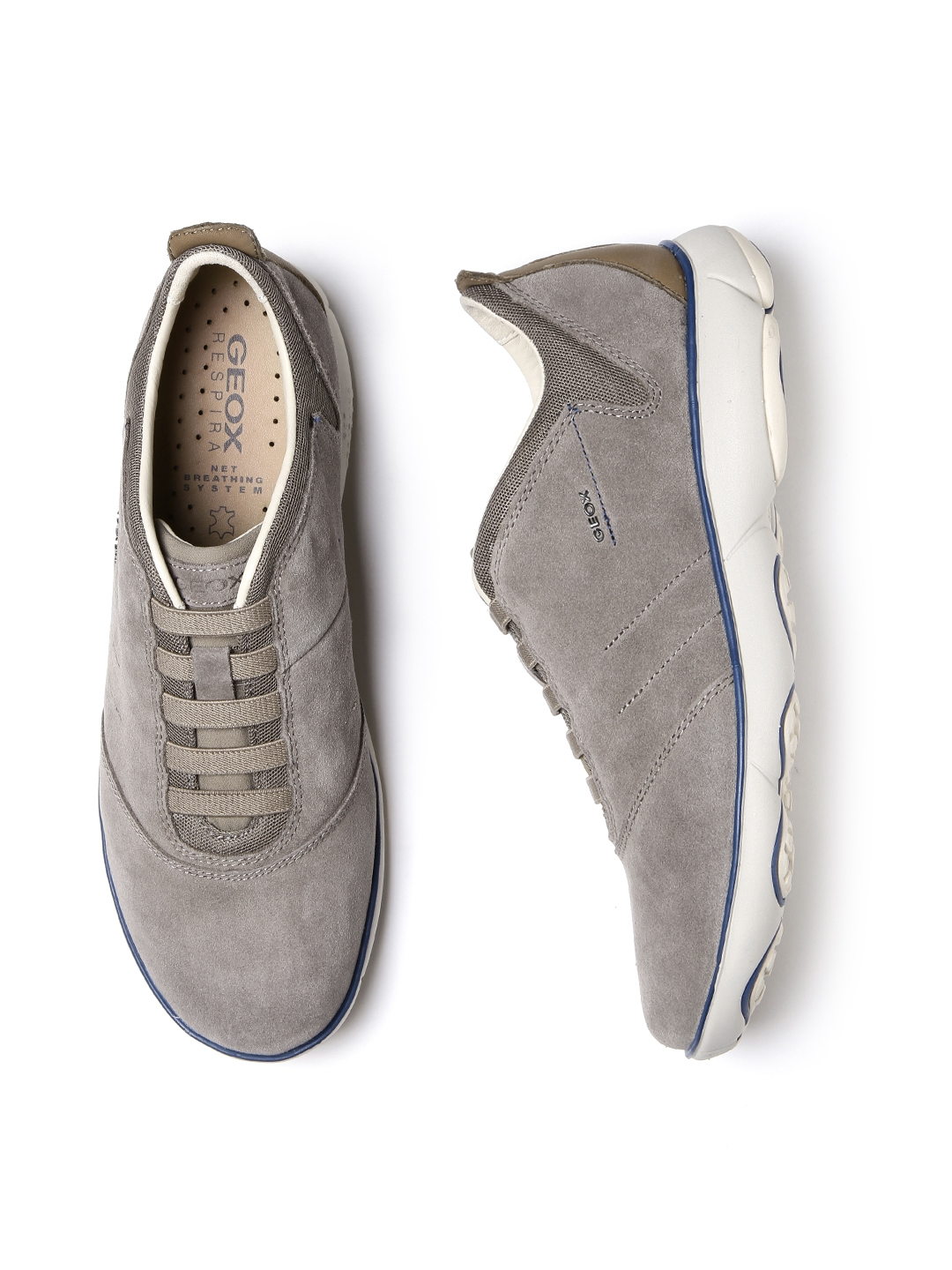 GEOX Nebula Respira Men Taupe Breathable Italian Patent Leather Sneakers 6a82ae6fea
