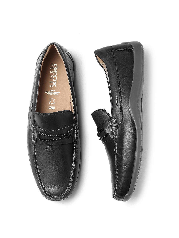 d862b5da86e Buy GEOX Respira Men Black Italian Leather Loafers - Casual Shoes ...